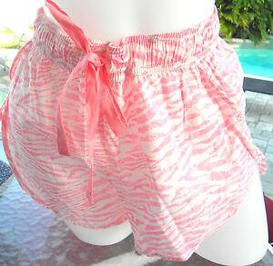 Victorias-Secret-cover-up-beach-shorts-sleep-pink-white-tiger-stripes-L-swim