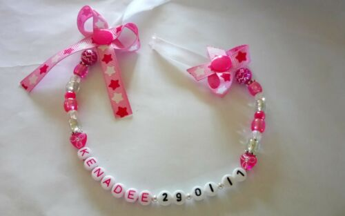 personalised bow dummy clip  with date of birth girls and boys mam adapter