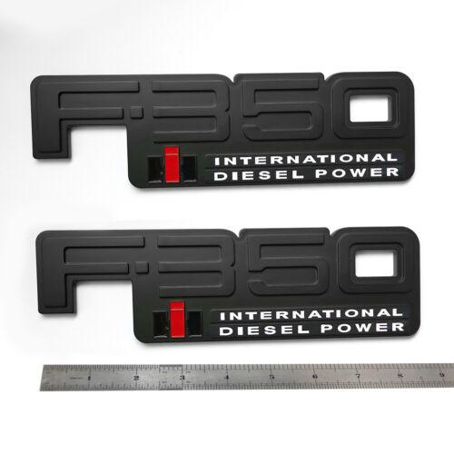 2x OEM F-350 International Emblem 3D Diesel Power Badge W fits F350 Black White