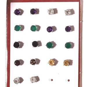 Amethyst-Citrine-Onyx-Multi-Gemstone-925-Sterling-Silver-Earring-Stud-Jewelry