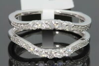 10k White Gold Solitaire Enhancer .57 Carat Diamond Ring Guard Wrap Wedding Band
