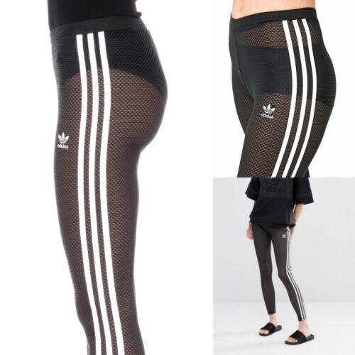 Adidas 3 Stripes Leggings Donna Nero Mesh Net AY7939 Big Sale