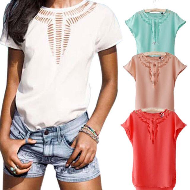 Women Casual Chiffon Blouse Short Sleeve Shirt T-shirt Summer Blouse Tops