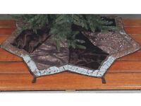 25190 Brown Teal W/burgudy Trim Star-shaped Christmas Tree Skirt W/beaded Tassel