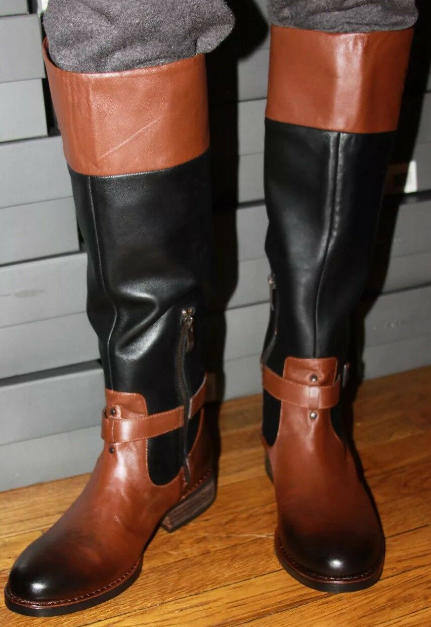 VINCE CAMUTO V0-FLAVIAN BLACK WHISKEY LEATHER BOOTS SIZE 5.5M