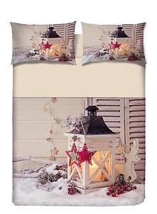 Copripiumino Natale Matrimoniale.Copripiumino Matrimoniale Chalet Natale Lanterne Stampa Digitale