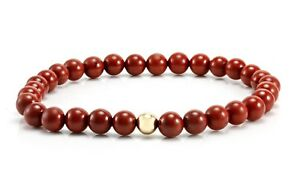 Mens-Gemstone-Bead-Bracelet-6mm-Red-Jasper-amp-9ct-Gold-Stretch-bracelet