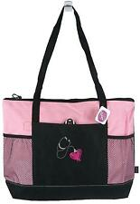 Stethoscope & Heart Pink Bag Gemline Zippered Tote Medical Nurse Doctor Monogram