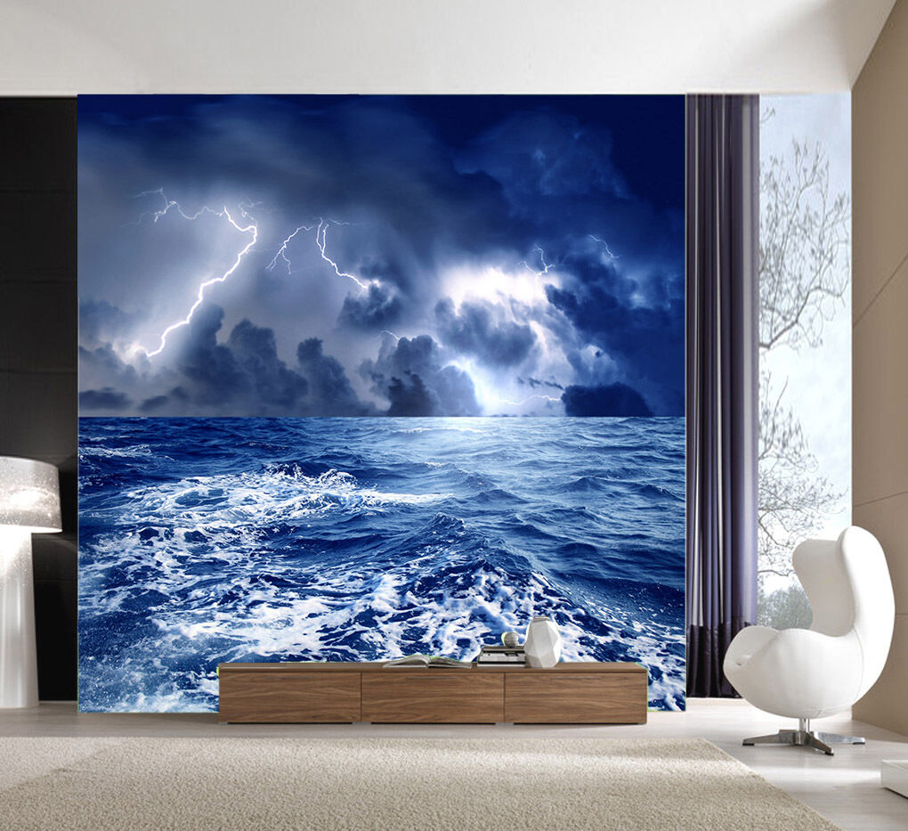 3D Waving Ocean And Lightning 39 Wall Paper Wall Print Decal Wall AJ Wall Paper