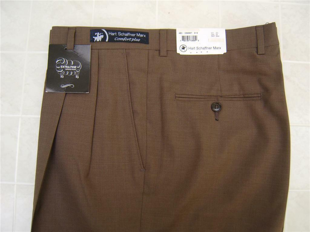 Hart Schaffner Marx Men's 100% Wool Pants Trousers Pleated Front 32 R Brown