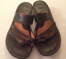Born Black Leather Slide Thong Sandals Flip Flops Women's size 42 10 (s8)