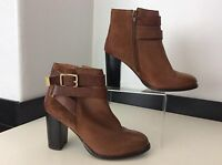 TOPSHOP tan Brown Leather & Suede Ankle Boots Size 38 Uk 5 Vgc