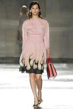 PRADA Spring 2012 RUNWAY Pink Flame Print Silk Chiffon Dress IT42/US8 NWT