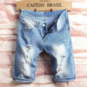 Mens-Light-Blue-Ripped-Destroyed-Jeans-Straight-Slim-Denim-Short-Pants-Plus-Size