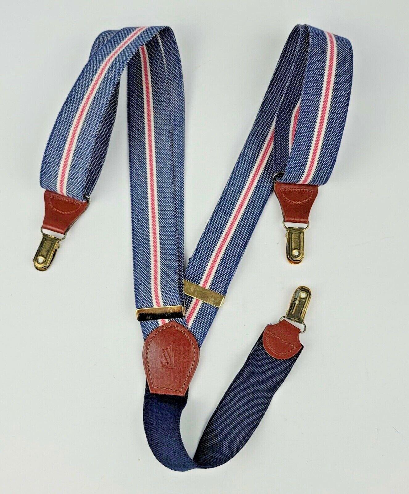 Nautica Suspenders Leather Clip Red White & Blue 1 3/8
