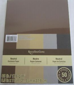 Recollections-Cardstock-Carta-8-1-5-1cm-x-27-9cm-50-Fogli-29-5kg-5-Color-Neutro