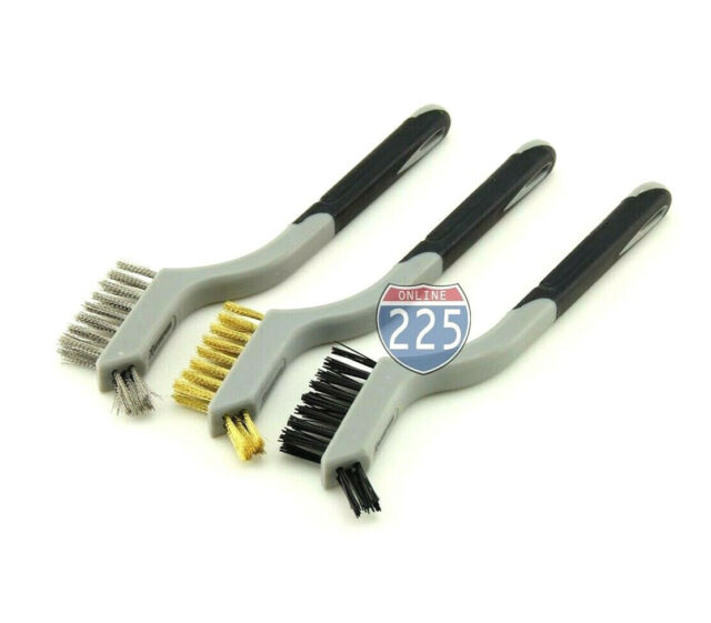 3Pcs Handy Brush Set Stainless Steel//Nylon//Brass Wire Brushes Cleaning 17cm