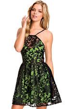 Mini Kleid Organza grün schwarz Spitze 32 34 XS