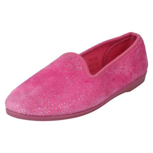 *SALE* Unbranded X2027 Ladies Pink Glitter Textile Slip On Full Velour Slippers