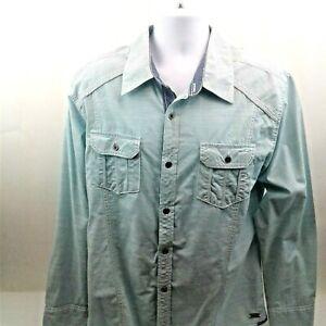 Buckle-Black-Mens-Slim-Fit-Green-Long-Sleeve-Shirt-w-Flip-Collar-amp-Cuffs-Size-XL