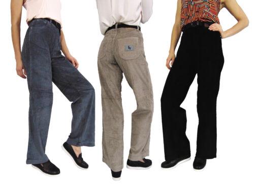 Da Donna Gamba Larga Vintage Vita Alta Casual Velluto a Coste Pantaloni Pants 8 10 12 14 16