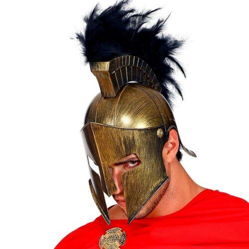 Antiker bronzefarbener Gladiator Helm mit Federbesatz Kriegerhelm Achilles Römer