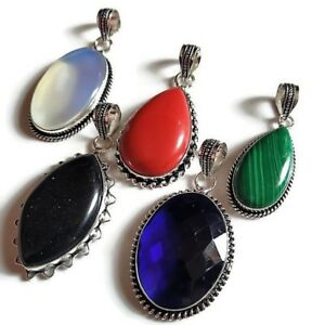 Wholesale Lot Choose Your Pcs Multi Gemstone 925 Sterling Silver Plated Pendant