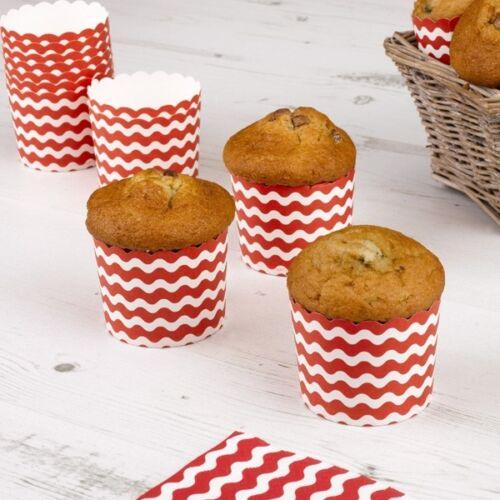 Durchm 6cm 24er Pack Muffinförmchen mit roten Wellen