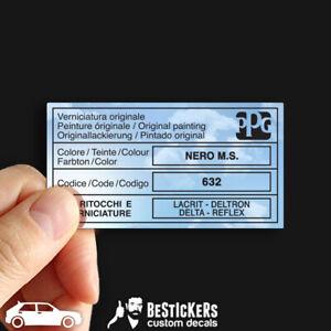 Adesivo vernice Lancia delta evoluzione 4x4 16v HF PPG colore Nero MS 632 paint