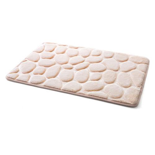 Non-Slip Pebble Flannel Bathroom Rug Foam Pad Mat Shower Floor Carpet 40x60 cm