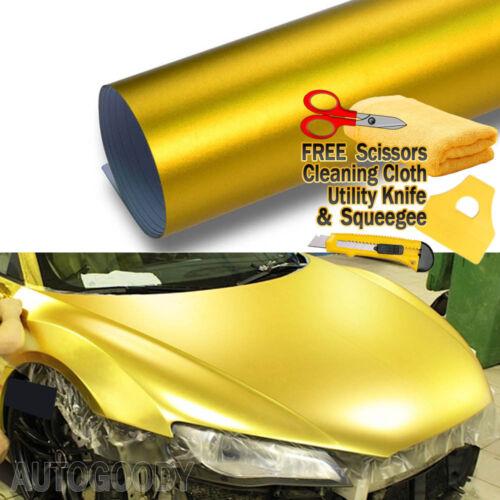 "72/"" x 60/"" Satin Matte Chrome Metallic Gold Vinyl Film Wrap Sticker Bubble Free"