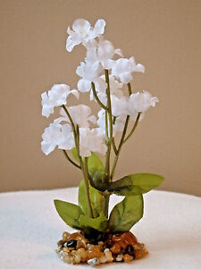 Artificial aquarium small 5 inch bright white silk flower plant w image is loading artificial aquarium small 5 inch bright white silk mightylinksfo