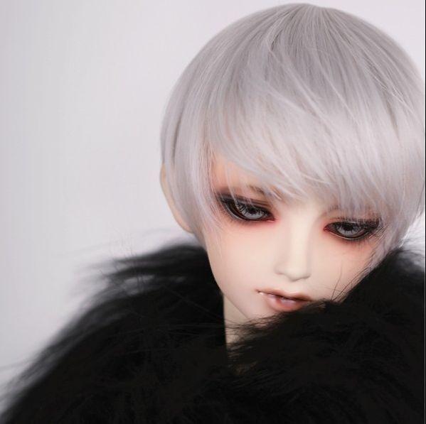 BJD Doll Wig 6-7 1/6 SD DZ DOD LUTS Silver Gray Short Straight