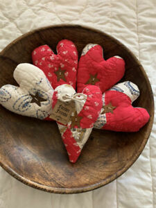 5 Primitive Vintage Quilt Bowl Fillers Ornie Hearts Rusty Stars Forever Friends Ebay