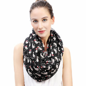 Kitty-Cat-with-Bow-Tie-Print-Womens-Infinity-Loop-Scarf-Pet-Gift-for-Cat-Lover