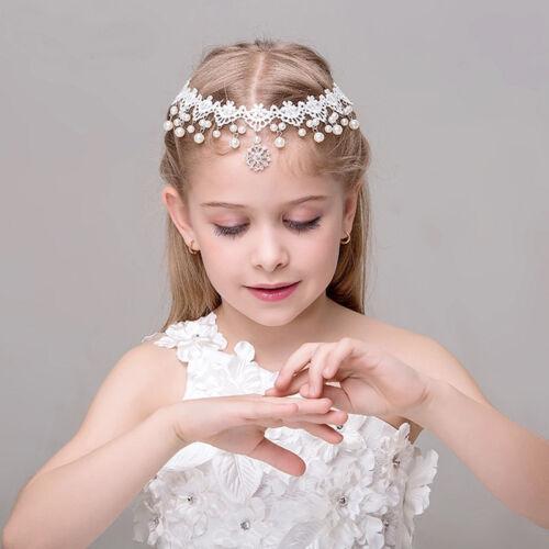 Girls Children Kids Headband White Lace Pearls Head Chain Festival Accessories