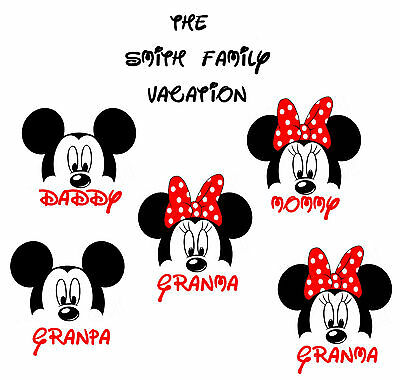 GREAT DISNEY VACATION MINNIE MICKEY MOUSE PERSONALIZED T-SHIRT IRON ON TRANSFER