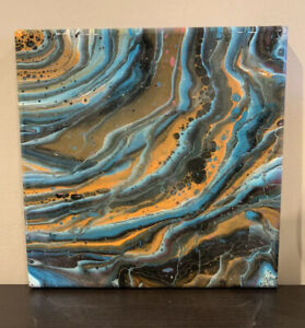 Original Acrylic Resin Fluid Art Painting 10X10 Abstract Art On Stretched Canvas