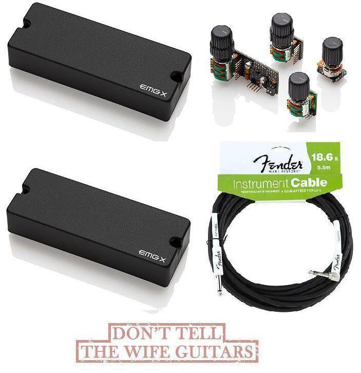 EMG 40DCX Set 5 String Soapbar & BQC System Tone Control Preamp  ( FENDER 18FT )