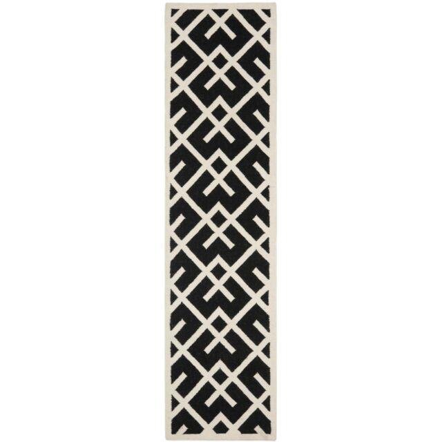 "Moroccan Design Black Dhurrie Rug 2' 6"" x 10' Runner"