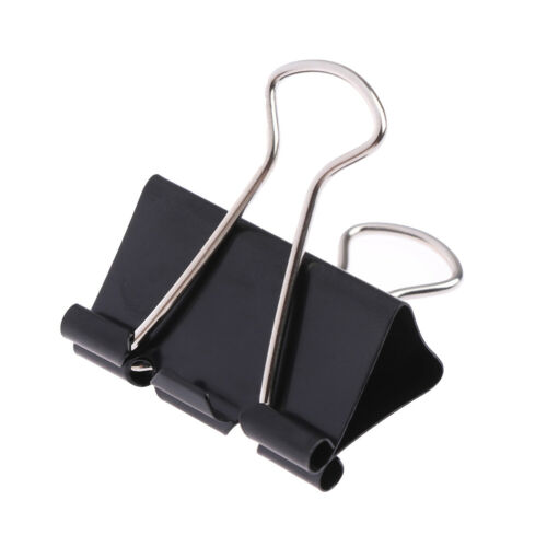 10 pcs Black Metal Binder Clips Notes Letter Paper Clip Binding Securing clip VG