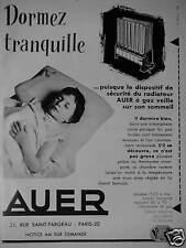 PUBLICITÉ 1956 AUER RADIATEUR A GAZ VEILLE SUR VOTRE SOMMEIL - ADVERTISING
