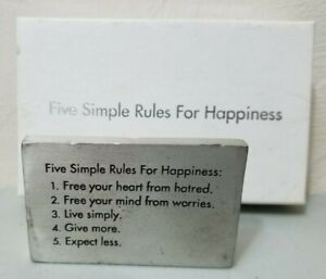 Vilmain Five Simple Rules for Happiness Paperweight 2005 W/ Box *FREE SHIPPING*