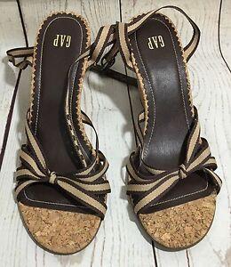 8c5cb29fb Image is loading Gap-Cork-Beige-Brown-Wedge-Heel-Strappy-Sandals-