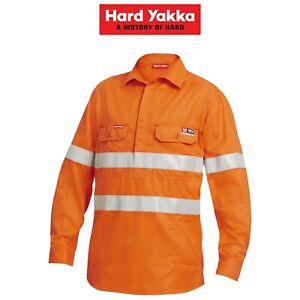 Mens-Hard-Yakka-Protect-Shieldtec-Fire-Resistant-Hi-Vis-Work-Shirt-Safety-Y04150
