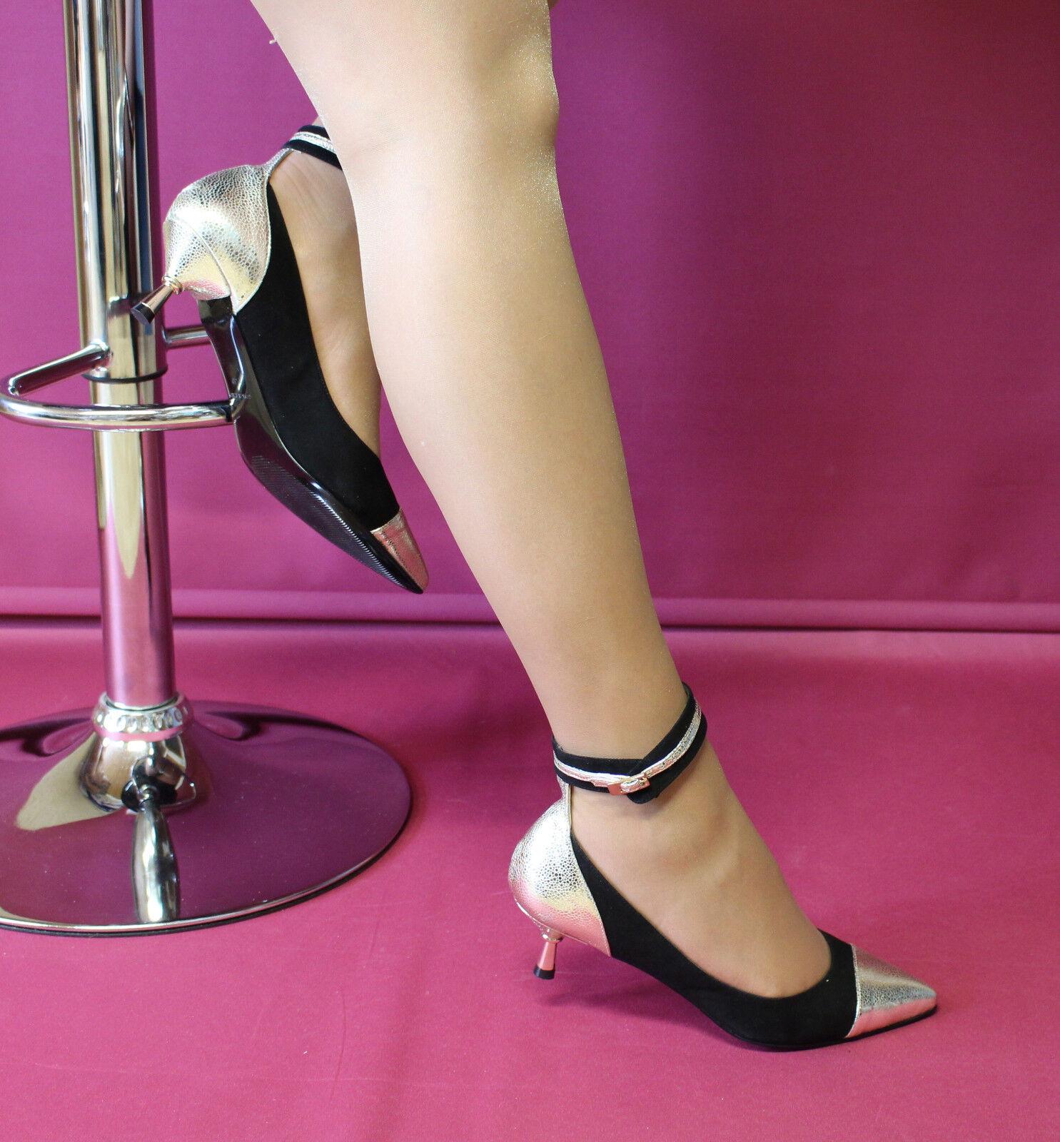 NERO-D' ORO L SO-Pelle-PUMPS CON Bondage con caviglia Patrizia Tg. Dini Tg. Patrizia 37 a85daa