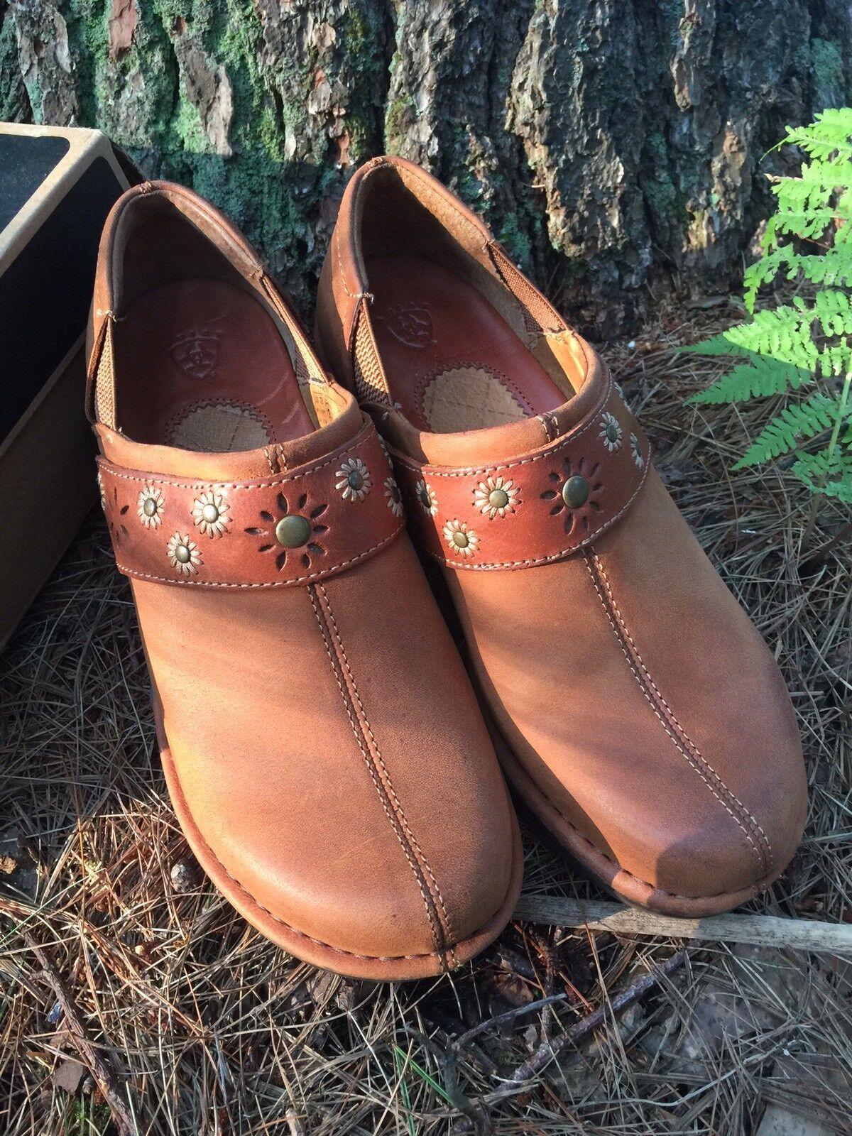 ARIAT WESTLAKE 15109 Brush Russet Leather Split Toe Wedge Clog Brown Women Sz 7