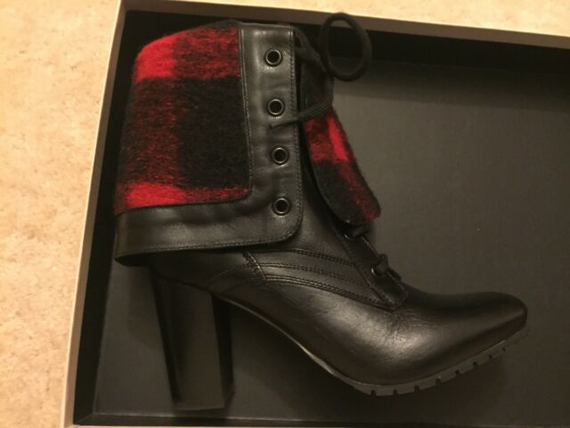 8dac4b98e8df Womens Burberry Foldover Black Ankle Boots Red Plaid Alford 85 New in Box  7.5