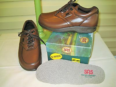 SAS TimeOut Mens Antique Brown Leather Walking Oxford Shoes NEW IN BOX