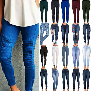 Women-High-Waisted-Ripped-Stretchy-Slim-Skinny-Jeans-Denim-Jeggings-Pencil-Pants